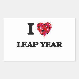 Amo año bisiesto pegatina rectangular