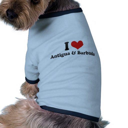 Amo Antigua y Barbuda Camiseta Con Mangas Para Perro