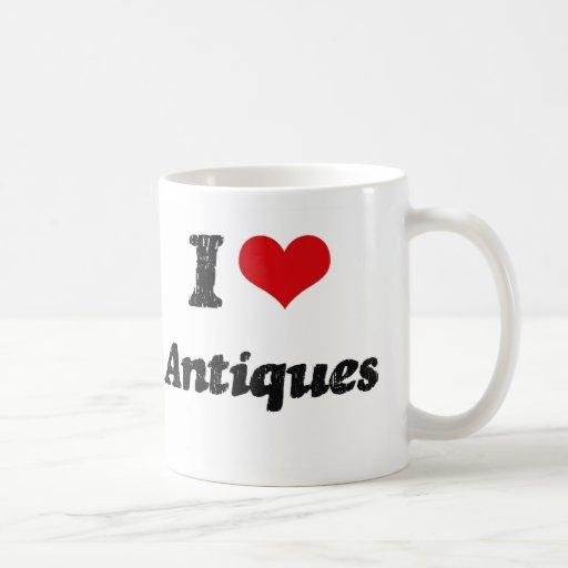 Amo antigüedades taza básica blanca