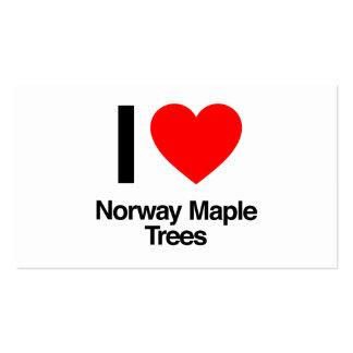 amo árboles de arce de Noruega Tarjeta De Visita
