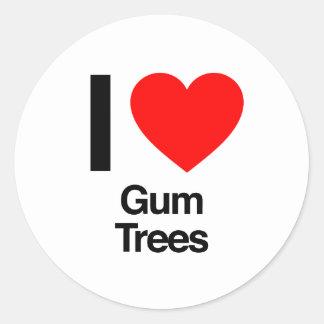 amo árboles de goma pegatina redonda
