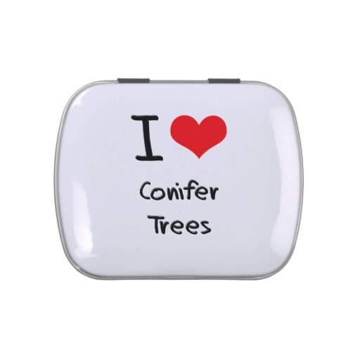 Amo árboles de la conífera jarrones de dulces