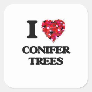Amo árboles de la conífera pegatina cuadrada