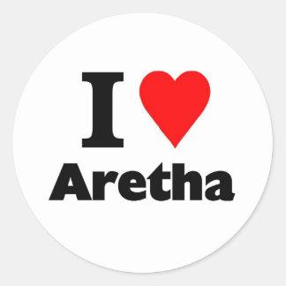 Amo Aretha Pegatina Redonda