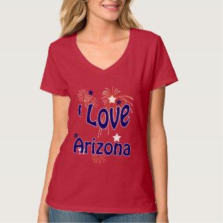 Amo Arizona la camiseta del rojo de las señoras
