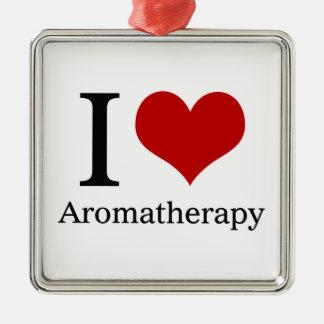 Amo Aromatherapy Adorno Cuadrado Plateado