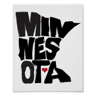 Amo arte del mapa del estado de Minnesota Posters