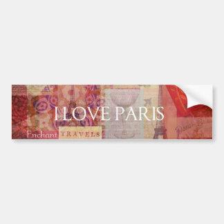 Amo ARTE del VINTAGE de París Etiqueta De Parachoque