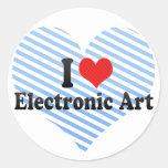 Amo arte electrónico etiqueta redonda
