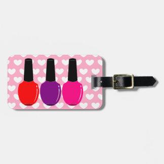 Amo arte púrpura rosado rojo del esmalte de uñas etiqueta de maleta