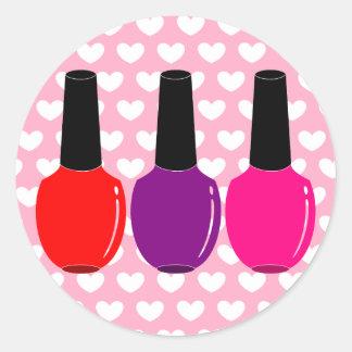 Amo arte púrpura rosado rojo del esmalte de uñas pegatina redonda