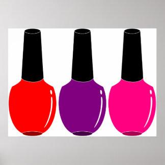 Amo arte púrpura rosado rojo del esmalte de uñas póster