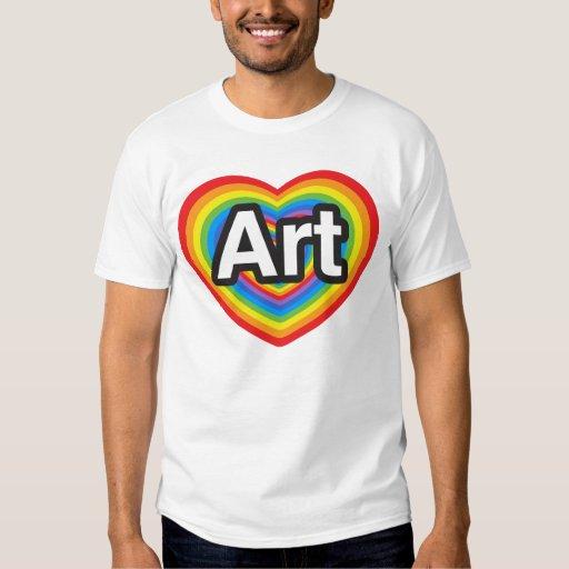 Amo arte. Te amo arte. Corazón Playera