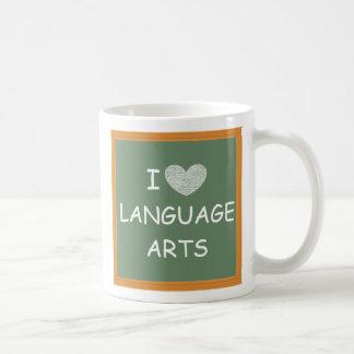 Amo artes de lengua tazas de café