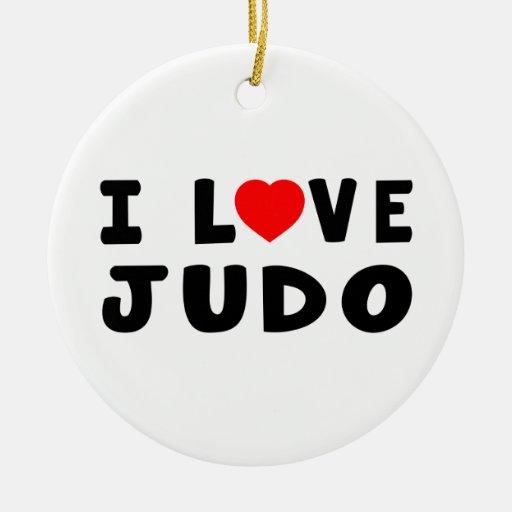 Amo artes marciales del judo adorno redondo de cerámica