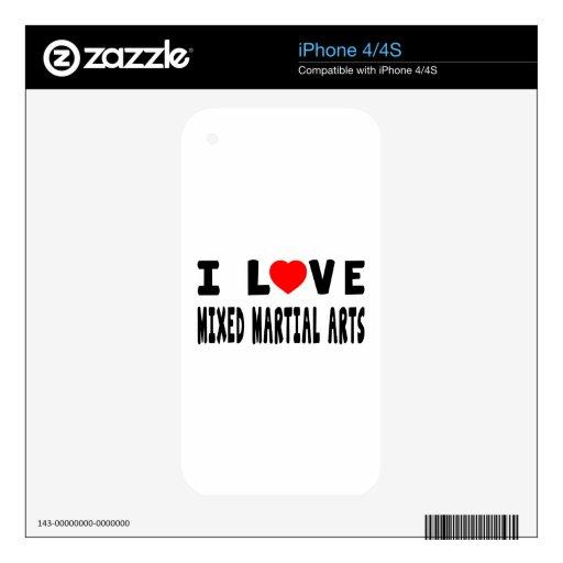 Amo artes marciales mezclados de los artes marcial iPhone 4 calcomanías