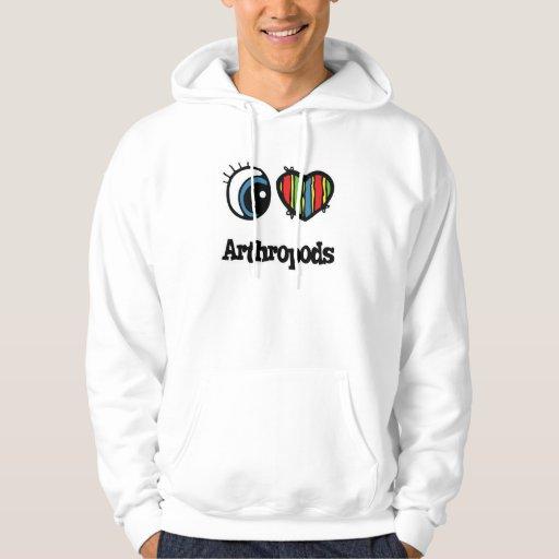Amo artrópodos (del corazón) sudadera con capucha