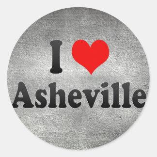 Amo Asheville, Estados Unidos Pegatina Redonda