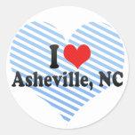 Amo Asheville, NC Etiquetas Redondas