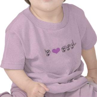 Amo ASL (lenguaje de signos americano) Baby T Camisetas