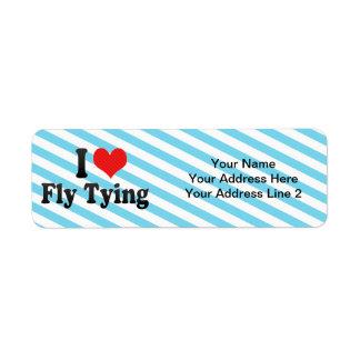 Amo atar de la mosca etiquetas de remite