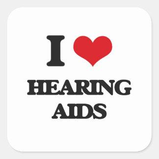 Amo audífonos calcomania cuadradas