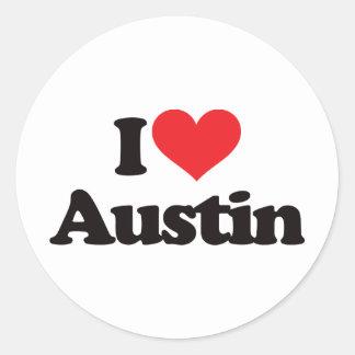 Amo Austin Etiqueta Redonda