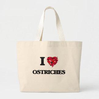 Amo avestruces bolsa tela grande
