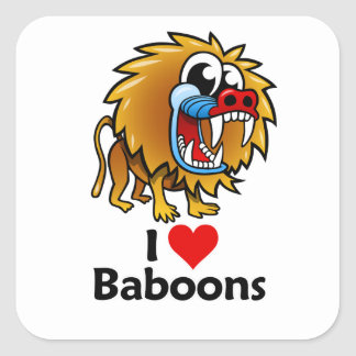 Amo babuinos pegatina cuadrada