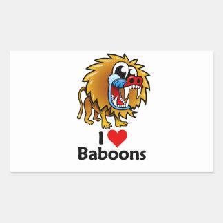 Amo babuinos pegatina rectangular