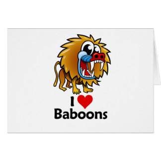 Amo babuinos tarjeta de felicitación