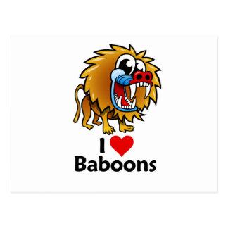 Amo babuinos tarjetas postales