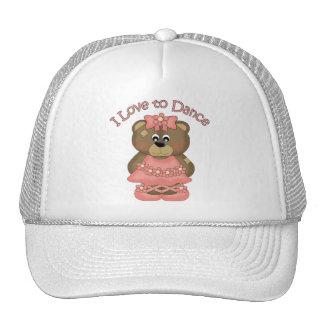 Amo bailar el coral del oso de la bailarina gorra