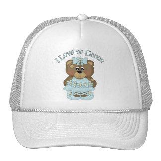 Amo bailar la aguamarina del oso de la bailarina gorras de camionero