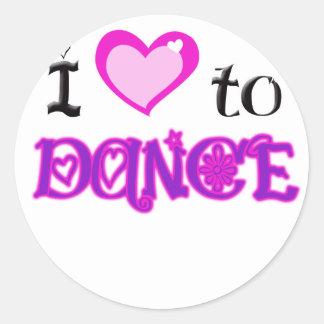 Amo bailar etiqueta redonda