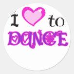 Amo bailar pegatina redonda
