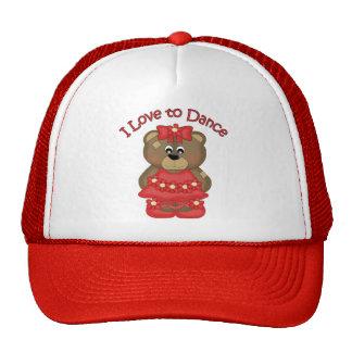 Amo bailar rojo del oso de la bailarina gorros bordados
