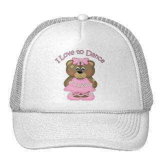 Amo bailar rosa del oso de la bailarina gorro de camionero