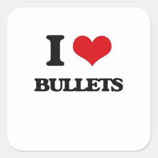 Amo balas calcomanías cuadradass