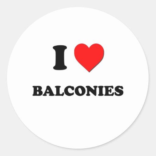 Amo balcones pegatina redonda