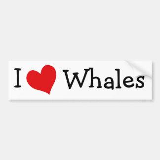 Amo ballenas pegatina de parachoque
