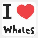 Amo ballenas calcomanía cuadrada