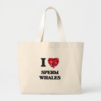 Amo ballenas de esperma bolsa tela grande