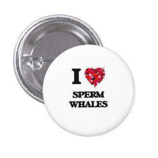Amo ballenas de esperma pin redondo de 1 pulgada