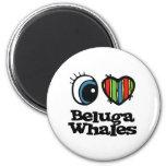 Amo ballenas de la beluga (del corazón) imanes