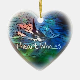 Amo ballenas de la orca en regalos del corazón adorno navideño de cerámica en forma de corazón