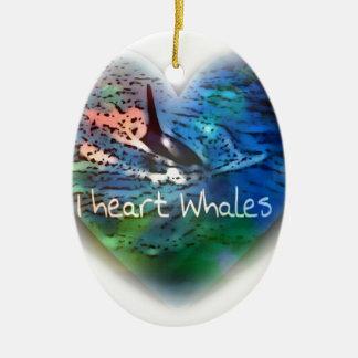 Amo ballenas de la orca en regalos del corazón adorno navideño ovalado de cerámica