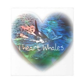 Amo ballenas de la orca en regalos del corazón bloc