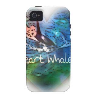 Amo ballenas de la orca en regalos del corazón Case-Mate iPhone 4 carcasa