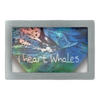 Amo ballenas de la orca en regalos del corazón hebillas de cinturón rectangulares